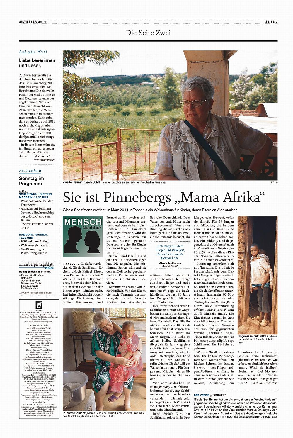 Ein Artikel des Pinneberger Tageblattes über die Eröffnung des Waisenhauses
