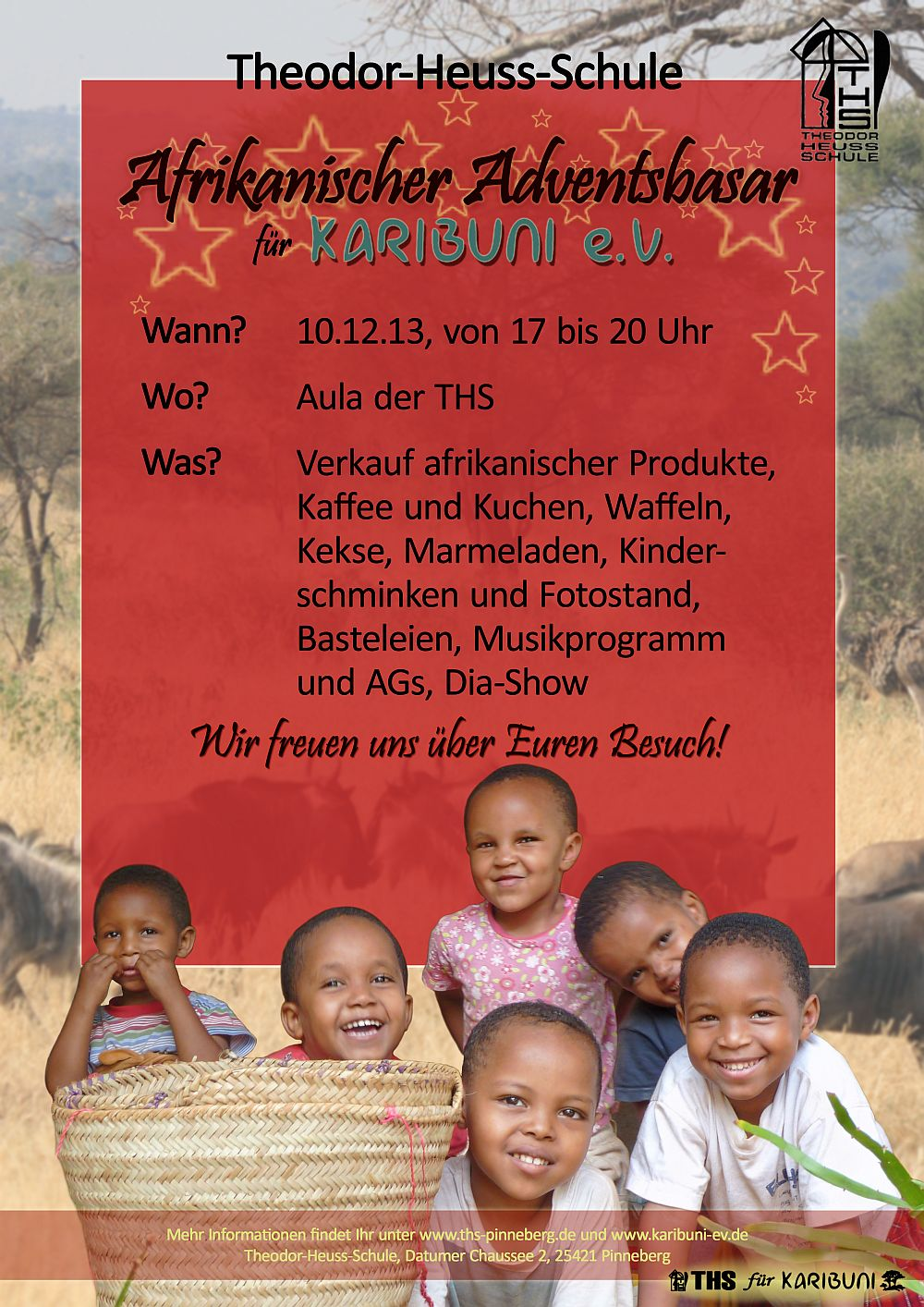 Plakat für den Afrikanischen Adventsbasar der THS