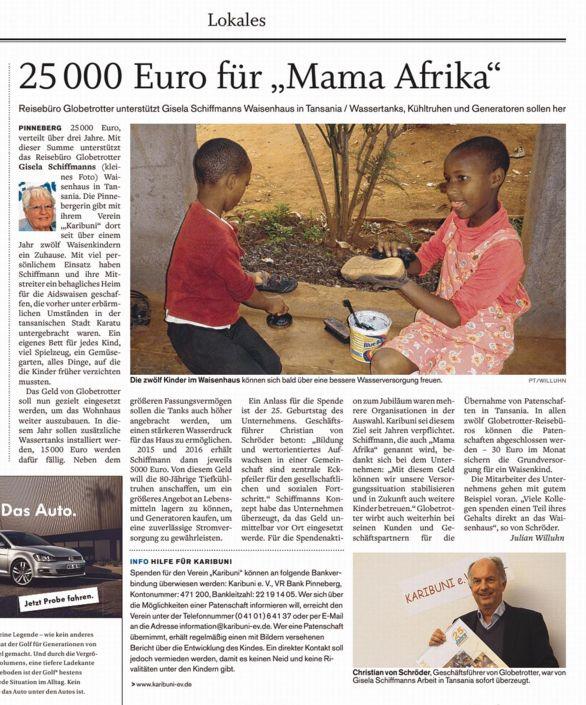 """25000 Euro für """"Mama Afrika"""""""